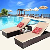 HTTH Outdoor Chaise Lounge, Easy to Assemble Chaise Longue, Thick & Comfy Cushion Wicker Lounge Chairs, 3 Pcs Chaise Lounge Chair Set for Garden,Patio,Pool(Brown)