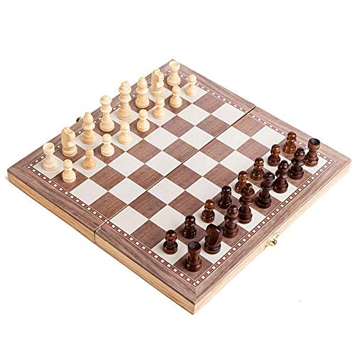 International Chess Set, 11.8 Inches 3 in 1 Wooden Chess Checkers Backga Game Set Portable Set Handmade Game Sets