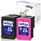 Witop Remanufactured Ink Cartridge Replacement for HP 63XL 63 XL High Yield Compatible with Envy 4520 4512 4516 Officeje 3830 3833 4655 Deskjet 1112 2130 3630 3633 3634 Printer (1B1C)