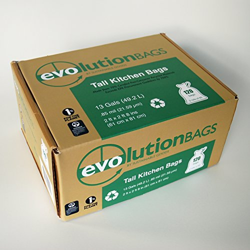 Evolution Trash Bags: Tall Kitchen Trash Bag, 120 Bags/Box, Made with 70% Certified PCR Material