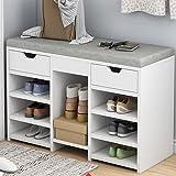 Taburete para cambio de puerta de casa para zapatos, pequeño zapatero para zapatos, taburete para zapatos, puede sentarse, organizador de armario (blanco 80 cm)