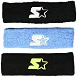 Starter Adult Unisex 3-Pack Headband, Amazon Exclusive, Black/Black/Team Light Blue, One Size