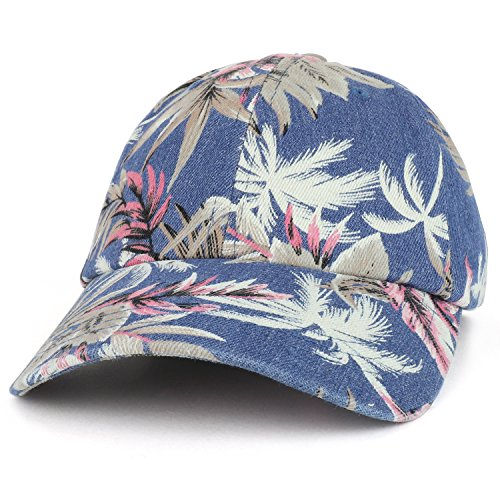 Armycrew Tropical Floral Print Unstructured Denim Baseball Cap - Navy