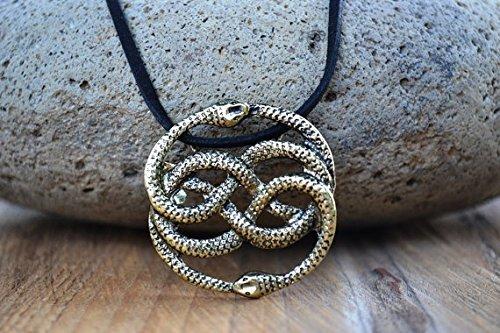 Neverending Story Antique Bronze Necklace, Leather, Choker Option, Never Ending Story Snake Pendant, Snake Circle, Men's Necklace