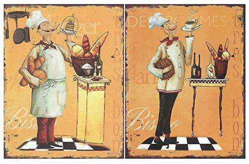 Cuadro de Cocina Cocinero Chef/Placas de Madera. Set de 2 Cuadros de 19 cm x 25 cm x 4 mm unid. Adhesivo FÁCIL COLGADO. Adorno Decorativo. Decoración Pared hogar Cocina