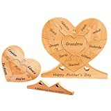 TINGSHOP Personalized Heart Family Puzzle with 8 Names Design Your Own Wooden Puzzle Desktop Home Decor Customized Name Puzzle Keepsake for Mother Grandmother (Walnut 16.5 x 15CM)