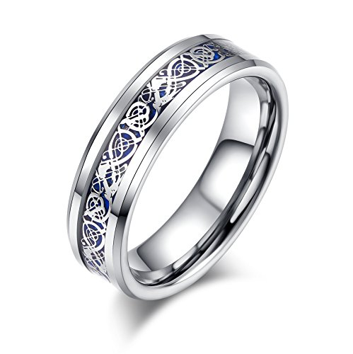 LALOPEZ 6mm Celtic Dragon Womens Tungsten Carbide Ring Blue Carbon Fiber Inlay Wedding Band,Size 8.5