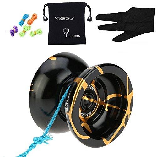 MagicYOYO N11 mit Gewicht Ring Aluminium nicht reagierendes professionelles YoYo Ballo Spielzeug mit 5 Strings & Handschuh, schwarz mit goldenen