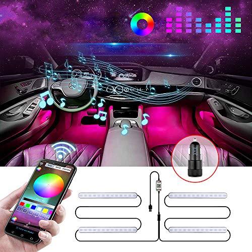 Boomersun Bil LED innerlampor, 12 V LED remsa lampa, tvålinjig design vattentät 4 st 48 LED APP-kontroll biltillbehör interiör, färgglad musik bilbelysning med USB-port och billaddare
