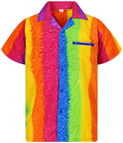 V.H.O. Funky Chemise Hawaienne, Rainbow Vertical, Multicolore, L