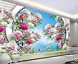 Papel Pintado Pared 3D Pared Albañilería De Mariposa De Flor De Peonía Fotomurales Decorativos Pared Decoración Mural Pared