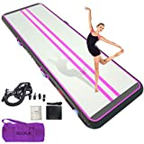 HIJOFUN Premium Air Mat Track 10ftx6.6ftx8in Gymnastics Training Mat Inflatable Tumble Track with Electric Air Pump for Home Kids,Gym,Yoga,Training,Cheerleading,Outdoor,Beach,Park Pink Black
