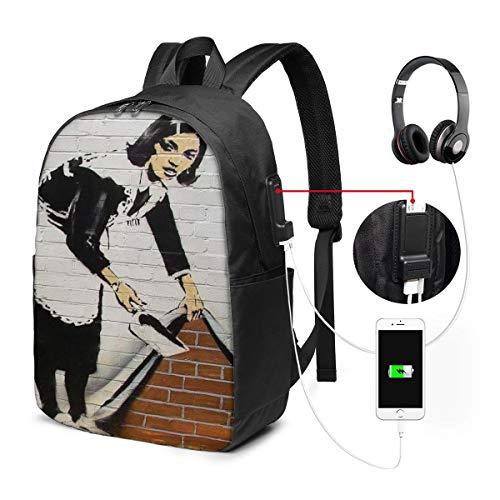 壁 落書き メイドさん クリーニング バッグ 17インチ USB充電ポート付き バックパック 調節可能なショルダーストラップ アウトドアリュック 登山リュック 季節新品 多機能 通学 通勤 出張 旅行用 大容量 黒 メンズ レディース通用