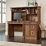 Sauder Palladia Computer Desk with Hutch, L: 59.49' x W: 23.54' x H: 56.5', Vintage Oak Finish