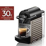 Krups Nespresso XN304TK Pixie - Macchina per caffè Espresso, Ricette Programmabili, 1260 W, Titan, 0.7 Litri