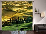 Ambesonne Tuscan Curtains, Peaceful Landscape of Pienza Tuscany Vineyard Trees Meadow Hill House, Living Room Bedroom Window Drapes 2 Panel Set, 108' X 90', Khaki Green