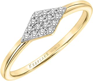 Diamond Shape Fashion Stack Diamond Ring in 925 Sterling Silver or 18k Yellow Gold Vermeil 1/10ct (I-J, I3), by Keepsake
