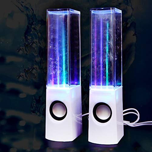 Led Light Dancing Water Speakers Fountain Music for Desktop Laptop Computer PC,USB Powered Stereo Speakers 3.5mm Audio (White,Line-in Speakers)