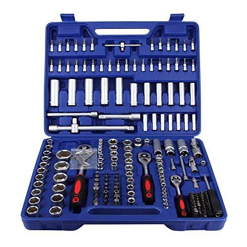Juego de llaves de tubo de 192 piezas, 1/4 pulg., 3/8 pulg., 1/2 pulg., Juego de llaves de tubo, juego de herramientas métricas, herramientas de instalación de extracción de reparación de automóviles