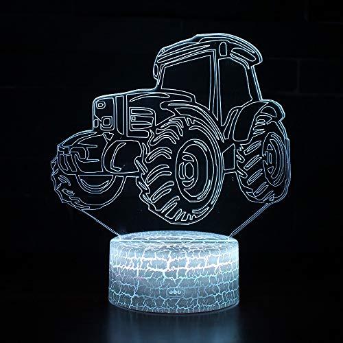 3D tractor nachtlampje LED optische illusie lamp 7 kleuren touch schakelaar bureaulamp voor slaapkamer kantoor kinderkamer decoratie licht