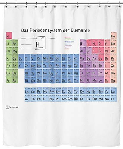 Wolfenthal Periodensystem Duschvorhang (weiß), 180x200 cm inkl. Haken, deutsche Beschriftung, Anti-Schimmel-Beschichtung, stabile Metallösen, 100prozent Polyester, ohne Blei
