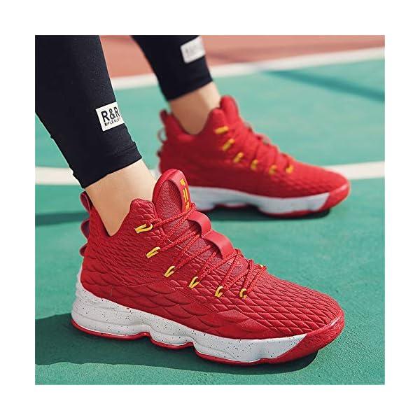 51Aii+ZvLqL. SS600  - Zapatos Hombre Deporte de Baloncesto Sneakers de Malla para Correr Zapatillas Antideslizantes Negro Rojo Champán Verde…