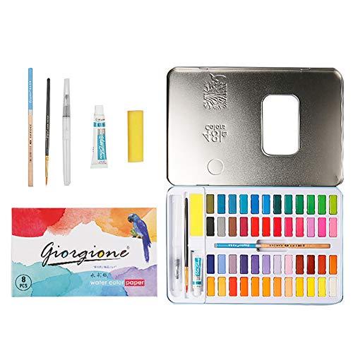nakw88 Pintura Acuarela 72pcs / Set Dibujo Estudiante Pigmento sólido Pearlescent Regalos para niños Suministros Arte Principiantes 48 Colores Profesional para Pincel a Papelería portátil(Azul)