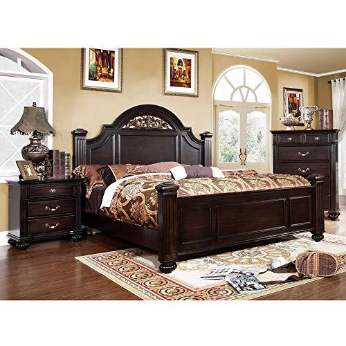 Furniture of America Grande 3-Piece Dark Walnut Bed Set California King