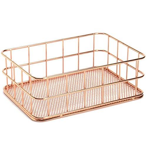 WOVELOT Cesta de almacenamiento de alambre de metal para baño, organizador de maquillaje, color oro rosa, soporte para bolígrafo, malla de alambre, artículos de tocador de baño