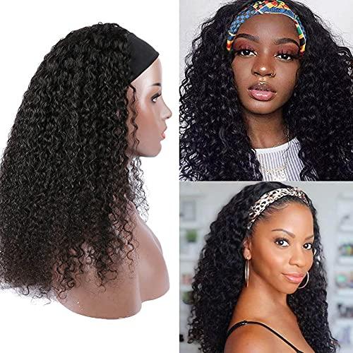 West Kiss Hair Headband Human Hair Curly Wigs for Black Women, Glueless None Lace Front Wigs 9A Brizilian Virgin Hair Machine Made Headband Wig 16 Inch