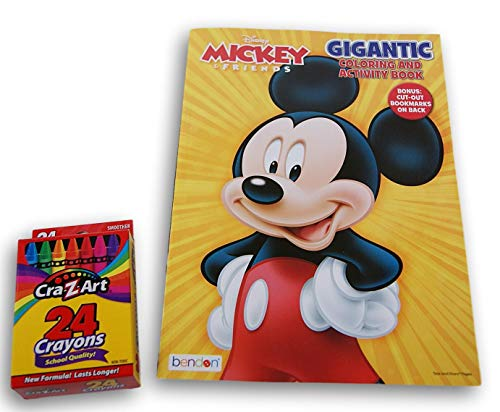 Mickey Mouse Gigantic 190+ Page Activity Book (Drawing, Mazes, Cut-Out Bookmarks) with Crayons