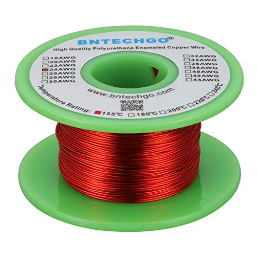 BNTECHGO 24 AWG Magnet Wire - Enameled Copper Wire - Enameled Magnet Winding Wire - 4 oz - 0.0197