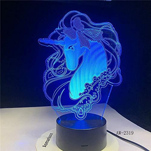 Lámpara de luz 3D 7 colores Unicornio romanceUSB Luz u oficina decorativa con batería 7 colores Cumpleaños para niños Regalos de vacaciones-16 color remote control