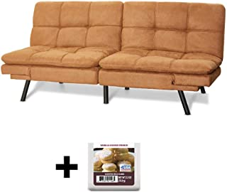 Upholstered Memory Foam Futon, Camel Suede + Free Vanilla Cookie Crunch Scented Wax Melts