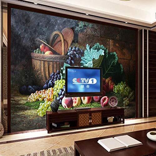 Fotomurales Fruta Uva 3D Pegatinas De Pared Para - Dormitorio Sala De Estar Cocinas Arte De La Pared Decoración Poster 250X175Cm