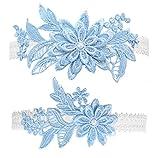 Wedding Garters Bridal Lace Garter Belt Set with Blue Floral Stretchy Garter Set for Bride(Medium size)