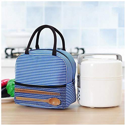 Ailler Portable Stripe Lunch Bag 83 x 47 x 8inch Thermal Canvas Food Container Tote Handbag Lunch Bags