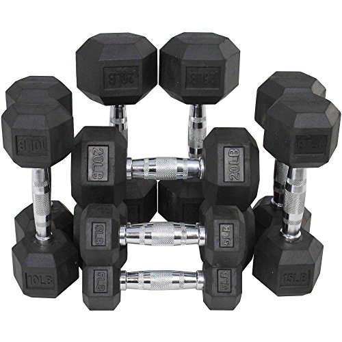 Titan Fitness Rubber Coated Hex Dumbbell Weights Training Set 5 10 15 20 25 lb