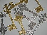 100 Key confetti - Housewarming confetti - Silver & Gold glitter - hand punched die cuts confetti party supplies
