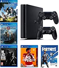 2019 Playstation 4 Slim PS4 1TB Console + Two Dualshock-4 Wireless Controllers + (Madden NFL 20, The Last of US, etc, Fort...
