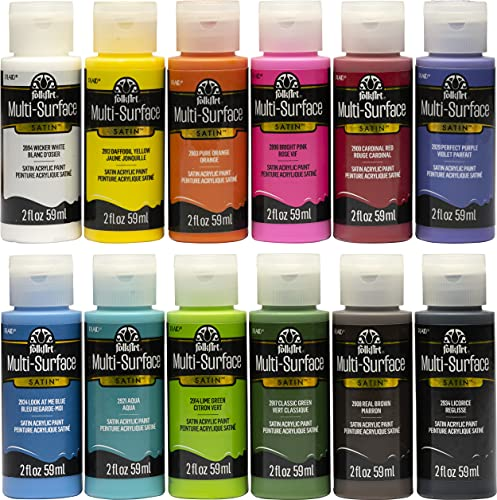 FolkArt PROMO830 Multi Satin Finish Acrylic Craft Paint Set Designed for Beginners and Artists, Non-Toxic Formula That Works on All Surfaces, 2 oz, 2 Fl Oz (Pack of 12), 12 Assorted Colors, 24
