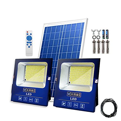 Foco Proyector Solar LED Control Remoto Exteriores, 190 LED Dobles 45000mah Dusk To Dawn Proyectores, Luz De Inundación Solares Larga Duración, Luces De Pared Farolas Solares IP67 Impermeab(Size:600W)