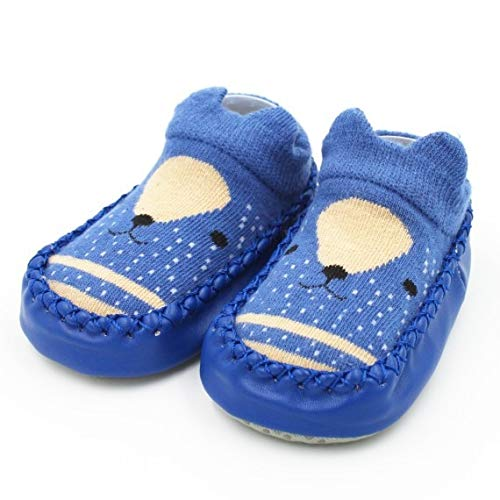 Calcetines de bebé con Suela de Goma Calcetín Infantil Recién Nacido Otoño Invierno Niños Calcetines de Piso Zapatos Antideslizante Calcetín de Suela Suave-a36-6M