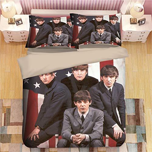 Beatles Strings Dekbedovertrek Sets Super King Size 3 Stuks Sets Beddengoed Sets Eenpersoons Met Rits Sluiting + 2 Kussenslopen - Ultra Zachte Hypoallergene Microvezel Quilt Cover
