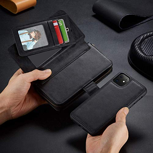 Urvoix for iPhone 11 Wallet Case Premium Leather Zipper Purse with Strap, Detachable Removable Magnetic Case with Card Holder Flip Cover for iPhone 11(6.1-inch Display), Black