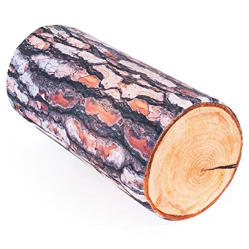 FFancy Cuscino simpatico tronco di legno (pino, betulla) – 40 cm - cuscino rotolo - cuscini antistress - cuscino cilindrico divano - cuscini peluche