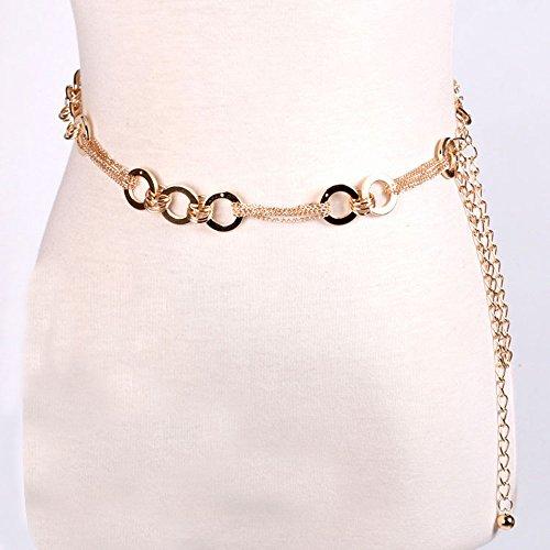 XKMY Cadena de cintura Mujeres Cinturón Mujer Señora Moda Cadena de Metal Color Oro Cinturón Cuerpo Cadena Collar Vestido Accesorios Decoración de Niña