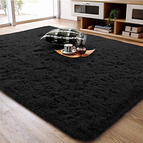 Alfombra de salón supersuave, color negro, de 5 x 8 pies, mullida, antideslizante, fácil de limpiar, alfombra de felpa de lujo para decoración de dormitorio, comedor o dormitorio