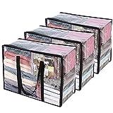 3 Paquetes Claro Bolsas para Guardar Ropa con Asa Reforzada 55 x 40 x 25 cm Organizador de...
