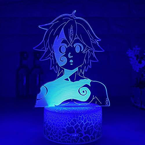 Luz de noche de anime 3D para niños Manga japonesa Los siete pecados capitales Lámpara de figura de ilusión 3D Meliodas Luz de noche de anime para la decoración del dormitorio del hogar